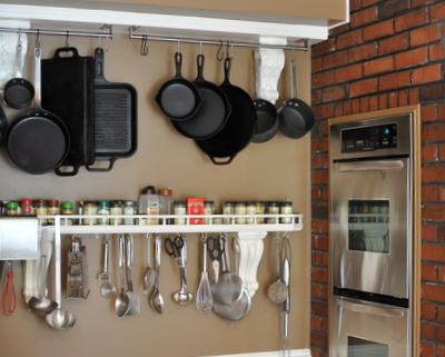 Hanging Pots and Pans & Open Spice Rack, One of Ten Things I Love About Our New Kitchen ♥ KitchenParade.com. Surprisingly, seven don't require a remodeling budget or construction dust.
