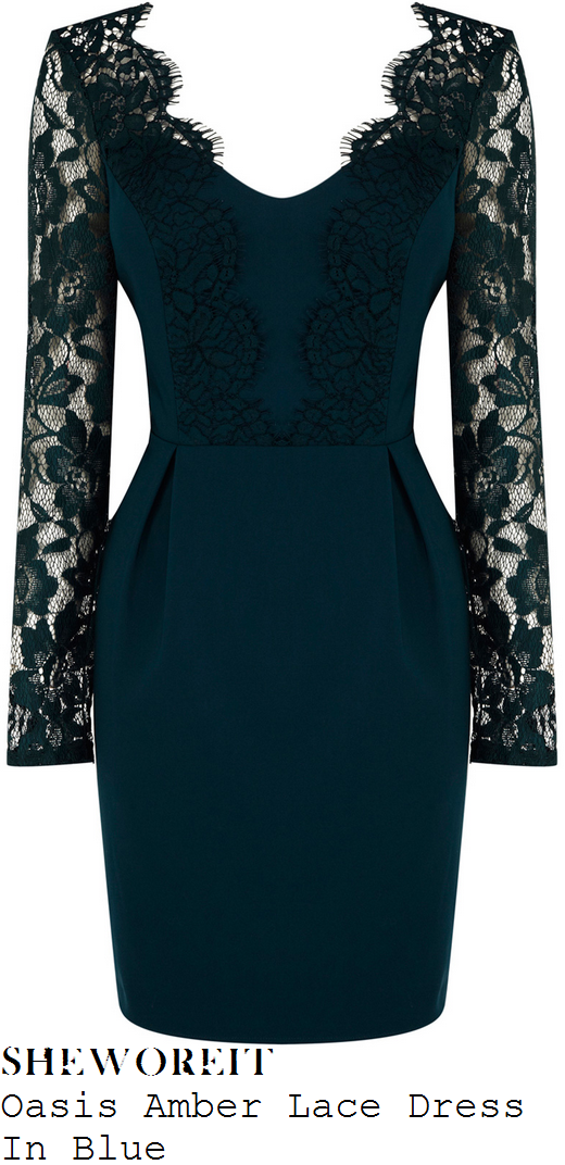 holly-willoughby-blue-teal-sheer-floral-lace-sleeve-v-neck-dress-celeb-juice