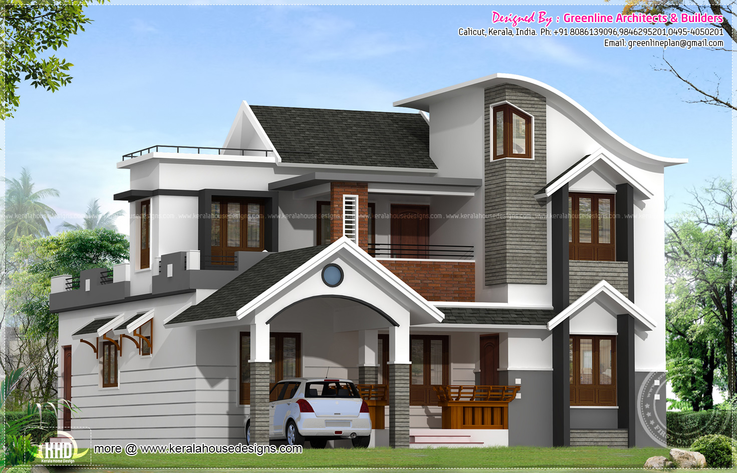 Modern house architecture in kerala kerala home design for Kerala home designs contemporary