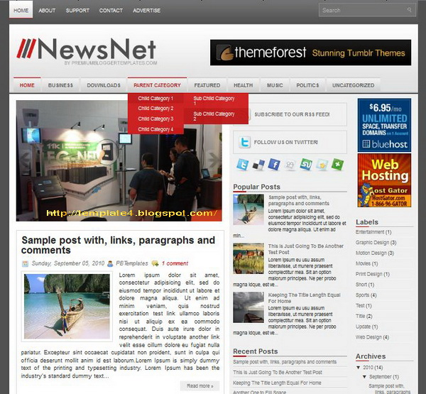 NewsNet Blogger Template