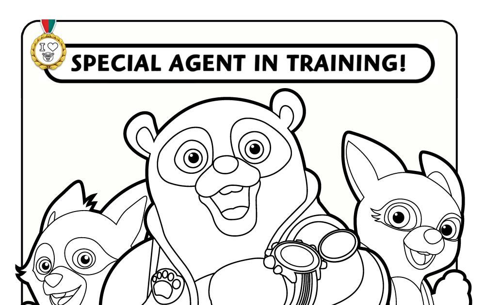 Oso Agente especial corriendo con amigos para colorear ~ 4 Dibujo