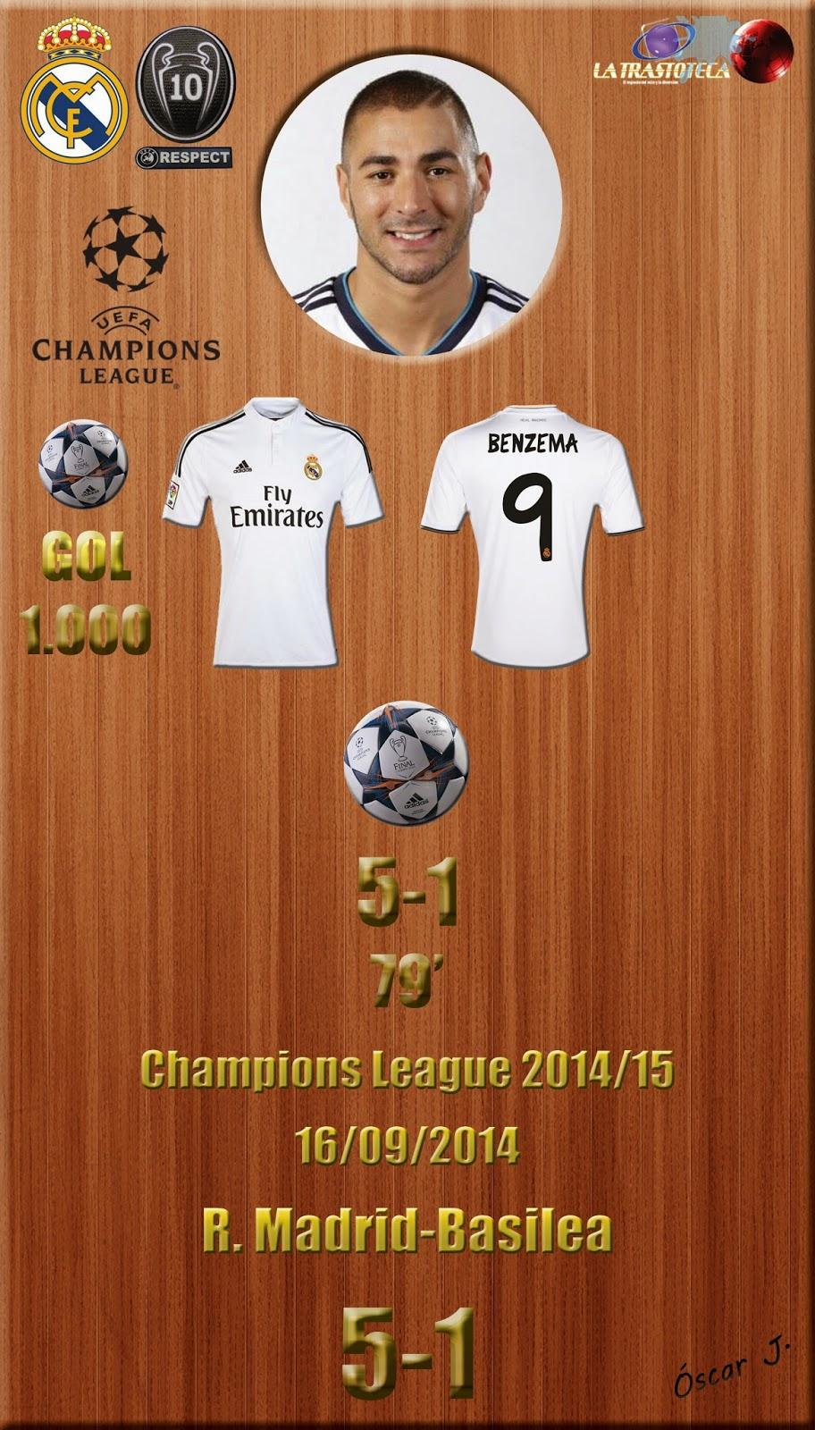 Benzema (5-1) Marca el Gol 1000 del Real Madrid en competición europea- Champions League. Jornada 1 (16/09/2014)