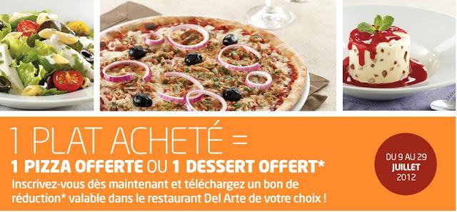 Bon plan Pizza Del Arte: 1 plat acheté = 1 pizza ou 1 dessert offert