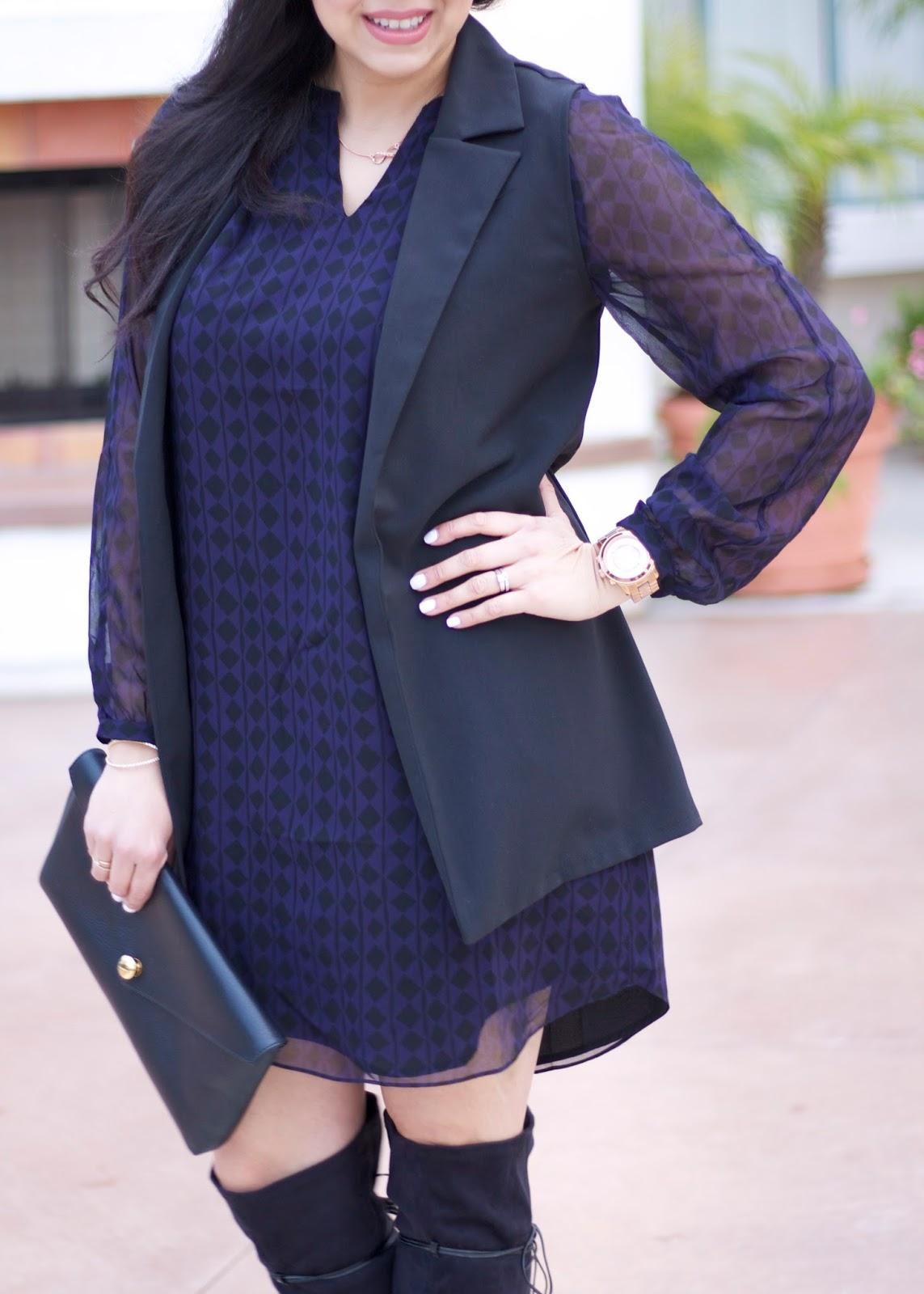 Dress with vest, black longline vest, windsor black vest, what to wear to cocktails, winter 2016 outfit