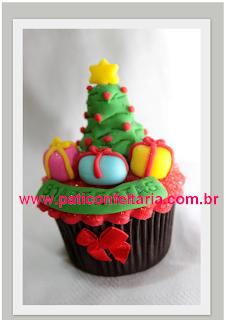 doce cupcake 3d decorado arvore natal