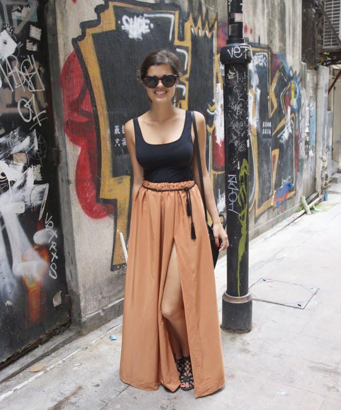 diy camel maxi skirt and tassel belt a pair a spare