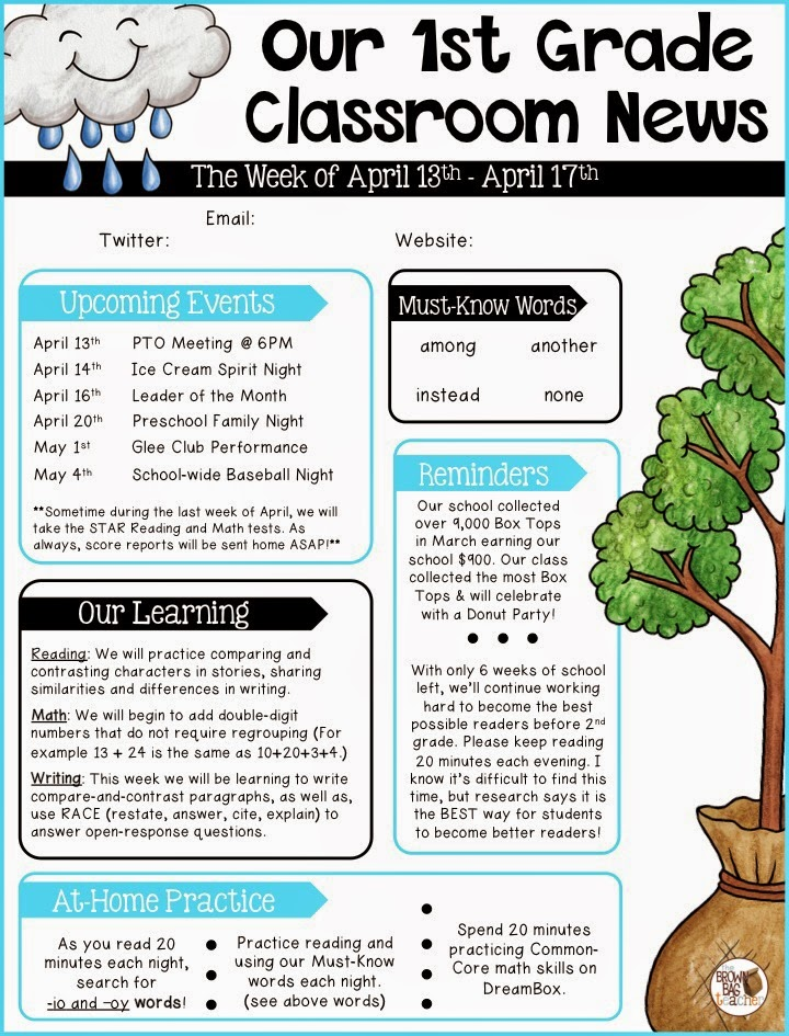 Parent communication 1st grade the brown bag teacher for Free editable newsletter templates for teachers