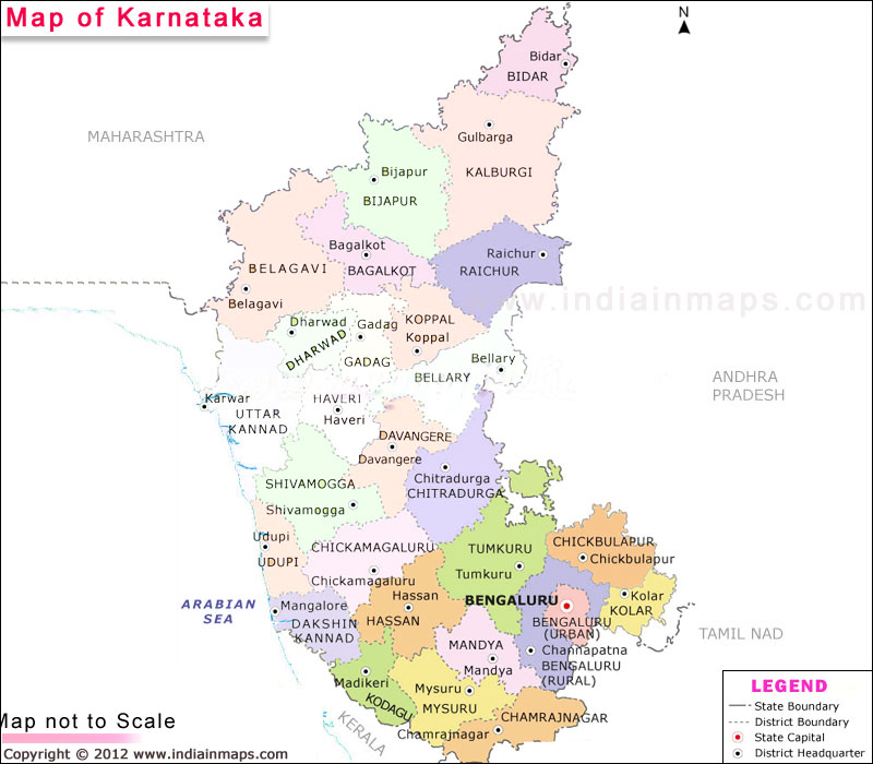 Map of Karnataka India In Maps