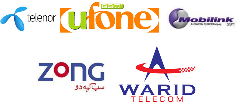 Pakistan Mobile Companies - MOBILINK UFONE JAZZ TELENOR WARID VWIRELESS WATEEN WORLD CAL EVO