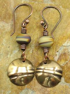 Fold-Formed Brass Earrings With Lampwork Beads