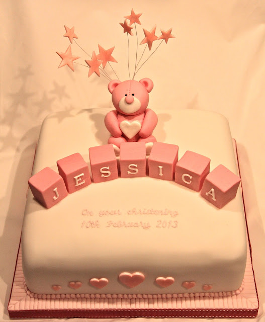 Christening cake with teddy bear