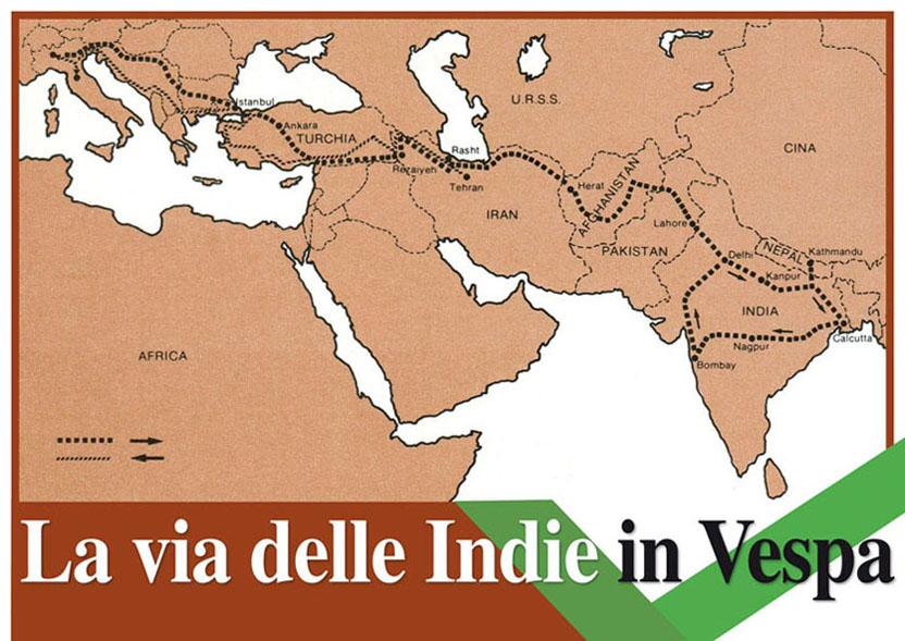 """L'itinerario di GIORGIO CÀERAN con la """"Vespa 200 Rally"""", durato 11 mesi (1977-'78)."""