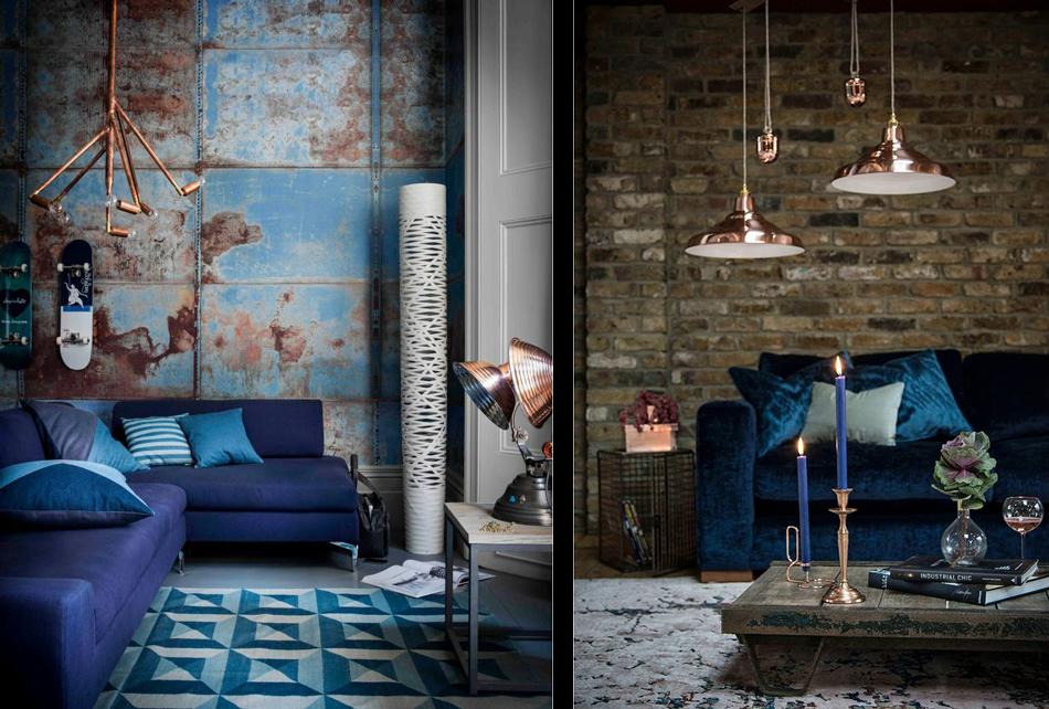 salons bleus avec un soupon de cuivre - Deco Salon Avec Canape Bleu