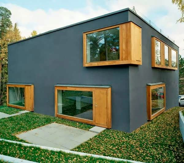 Scandinavian Contemporary Dubbed Double House Design With Solid Facade Of Grey Blue Cast