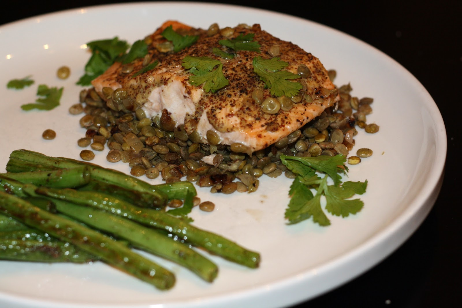 what's for dinner?: mustard-glazed salmon with lentils... 15 minutes