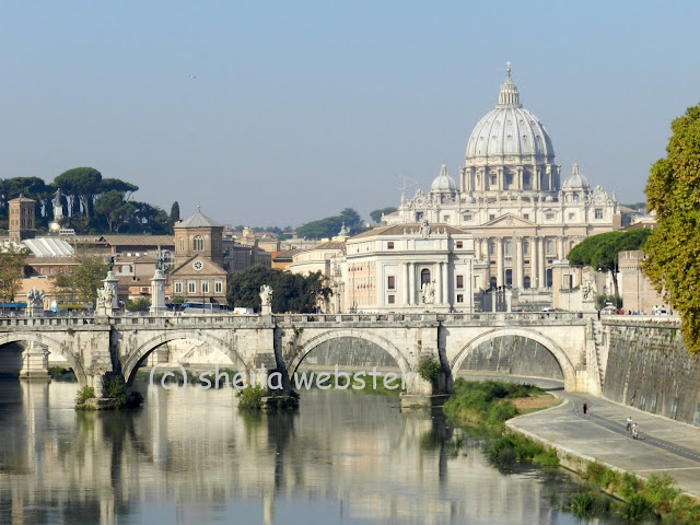 St. Peter's Basilica and the Taber River with bridge crossing.