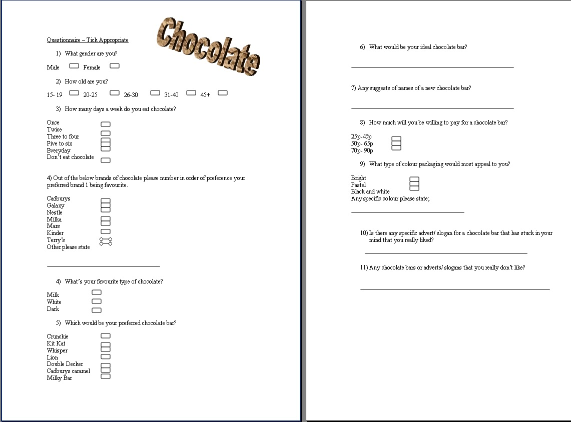 questionnaire on chocolates The official recfoodchocolate list of frequently asked questions this faq is posted on the sixth day of every month the most recent copy of this document can be.