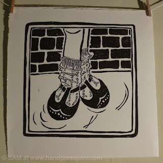 linoprint, lino cut, short-sockless print finished image