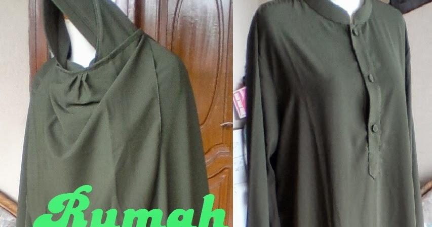 Model Gamis Muslimah Hijau Lumut Muda