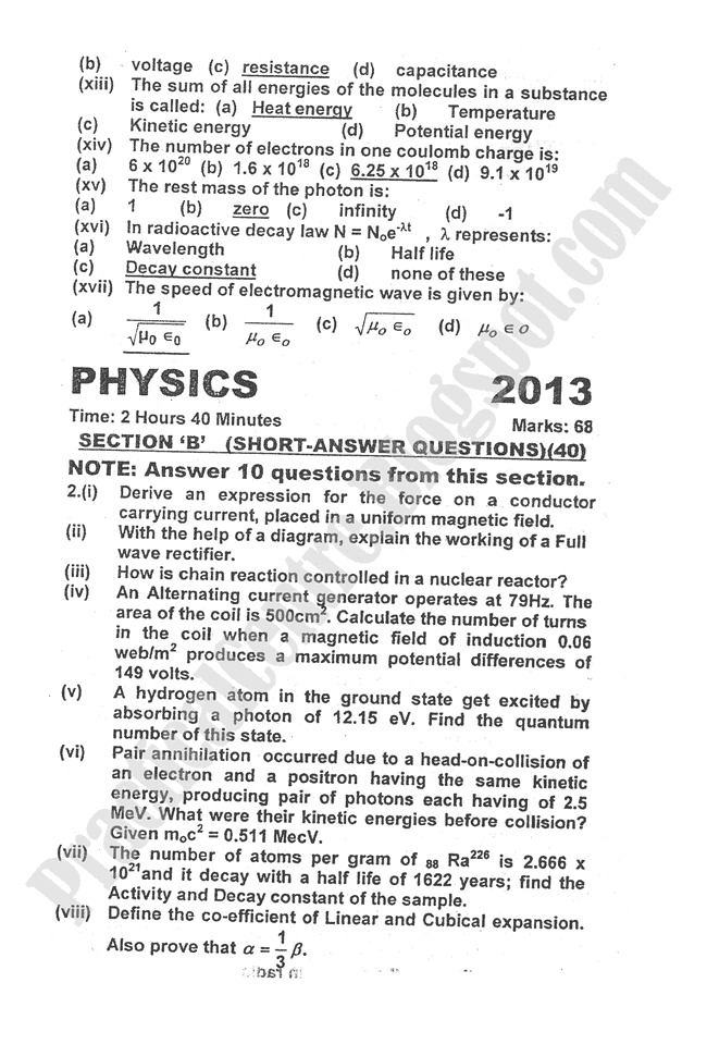 Physics-2013-five-year-paper-class-XII