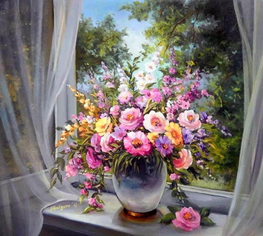 bodegn con jarrones de flores pintura leo