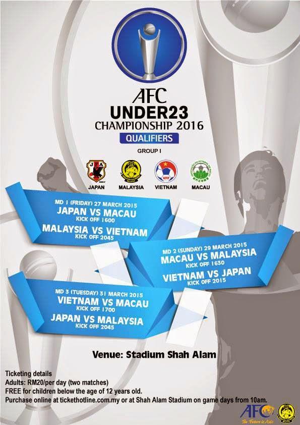 Jadual Bolasepak Kejuaraan Bawah 23 AFC 2015 Di Shah Alam