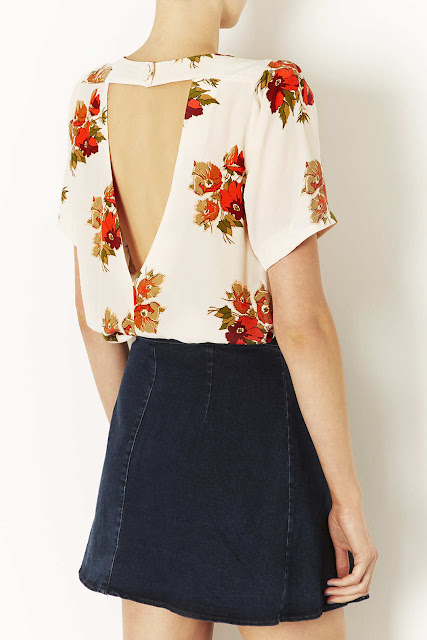 floral cut out top