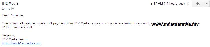 komisen pertama dari h12 media, syarikat pengiklanan untuk blogger, pendapatan blogger