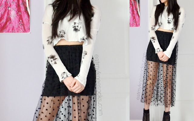 Full ulzzang outfit/OOTD featuring the polka dot mesh maxi skirt from Dresslink and a flowy cropped floral knit from H&M.