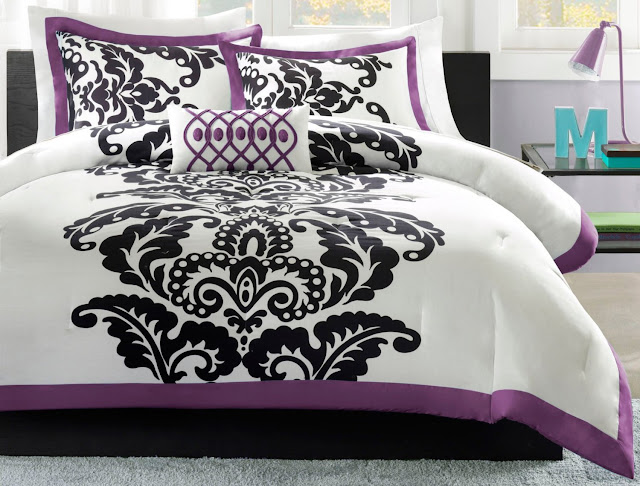 this damask purple black and white comforter bedding set in queen