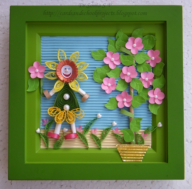 Cards Crafts Kids Projects Quilled Sunflower Girl