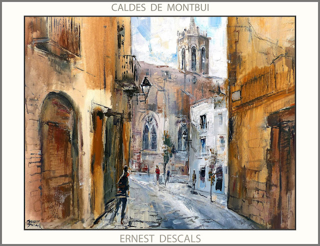 CALDES DE MONTBUI-PINTURA-PREMIS-ESGLESIA-PAISATGES-PINTURES-CATALUNYA-ARTISTA-PINTOR-ERNEST DESCALS