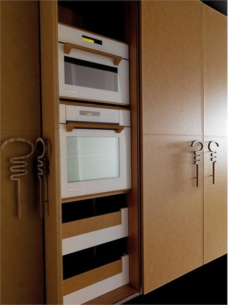 Кухонный гарнитур отделанный кожей. Модель Progetto50 от фабрики Toncelli.