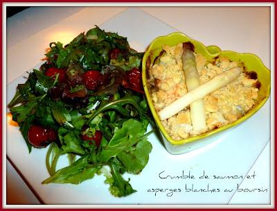 image Crumble de saumon et asperges blanches au boursin