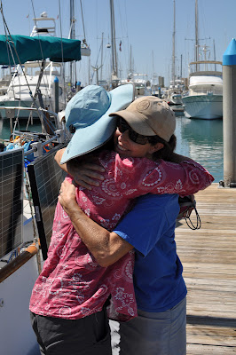 Hugging goodbye in Marina de La Paz