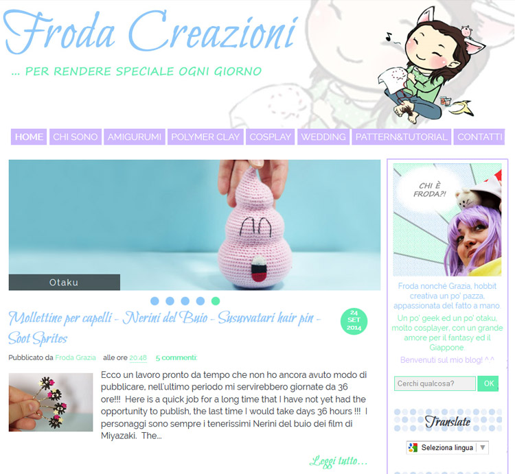 Blog Design for Froda Creazioni
