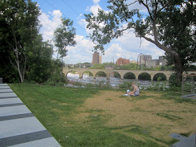 Overlooking Stone Arch Bridge and Mississippi River.