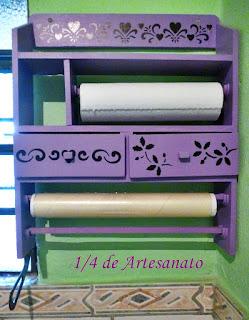 Porta temperos de madeira reciclado e pintado com estêncil