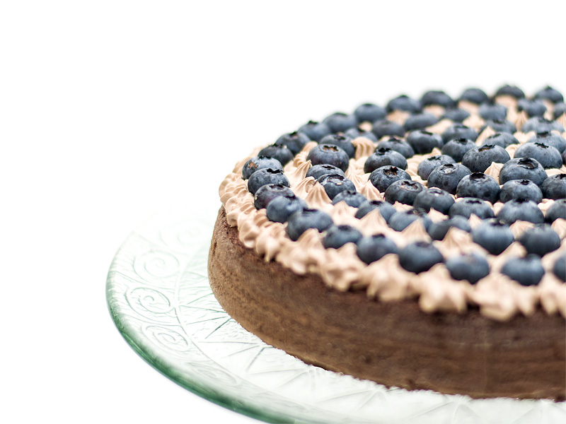 Chocolate blueberry cake left side
