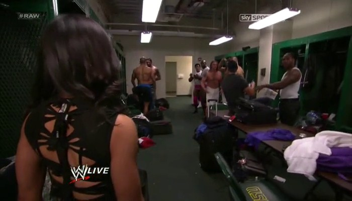 AJ enters the Mens Locker room