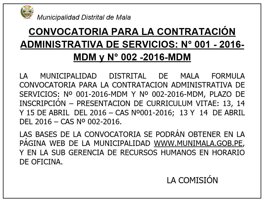 MUNICIPALIDAD DE MALA: CONCURSO PÚBLICO CAS 002-2016