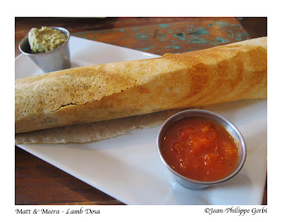 Image of Lamb dosa at Matt and Meera Indian restaurant in Hoboken, NJ New Jersey
