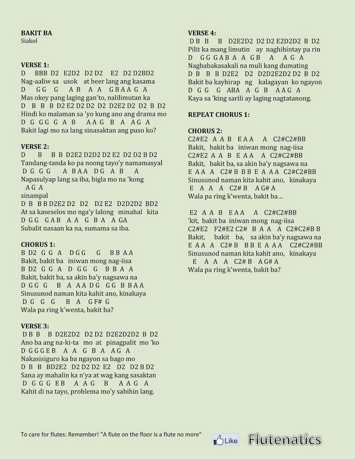 Bakit lyrics and chords