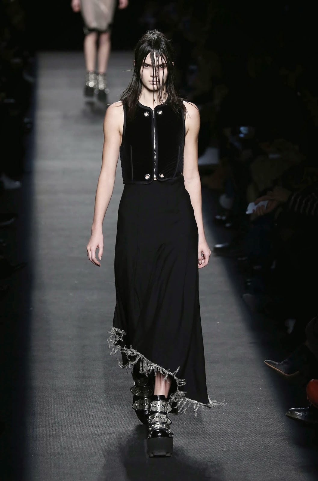 Kendall Jenner walks the Alexander Wang Fall/Winter 2015 Fashion Show in a gothic attire