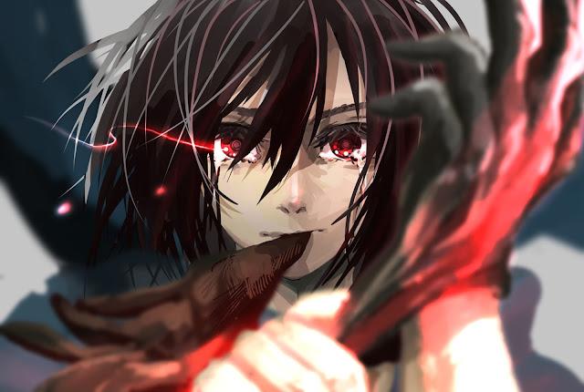 Beautiful Mikasa Ackerman Attack on Titan Shingeki no Kyojin Red Eyes Girl Female Anime HD Wallpaper Desktop PC Background 2132
