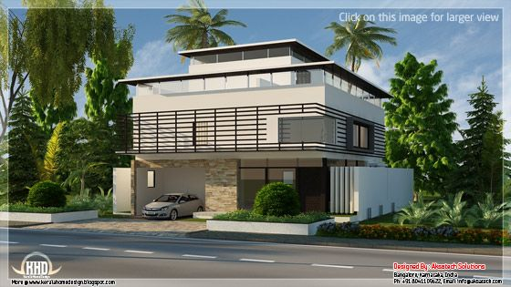 Contemporary house elevation