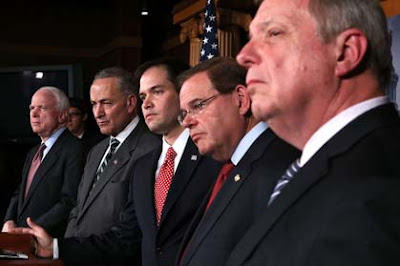 U.S. Sen. John McCain (R-AZ), Sen. Charles Schumer (D-NY), Sen. Marco Rubio (R-FL), Sen. Robert Menendez (D-NJ), and Senate Majority Whip Sen. Richard Durbin (D-IL) at a news conference on immigration reform (Credit: Getty)
