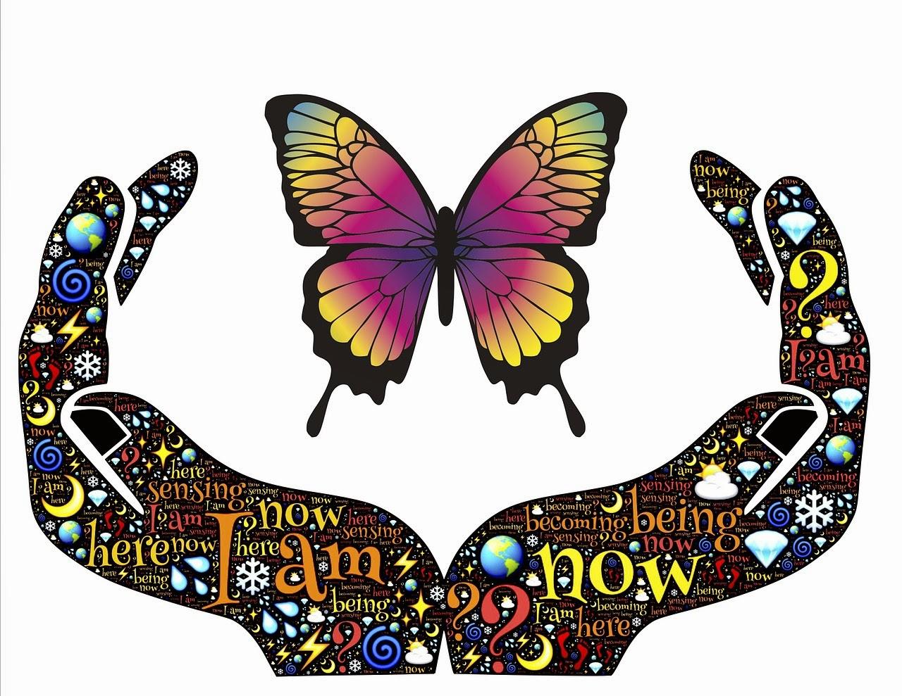 Butterfly in hands soul presence