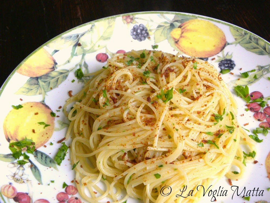 spaghettini con bottarga di muggine