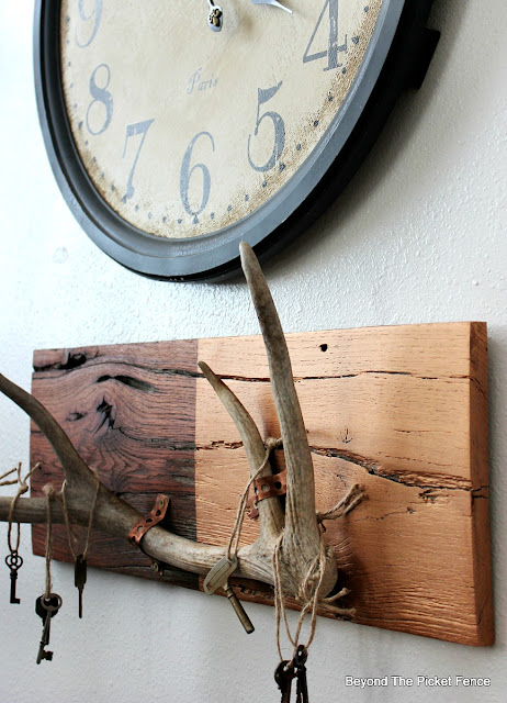 antlers, copper, rustic decor, chic, old keys, reclaimed wood, http://bec4-beyondthepicketfence.blogspot.com/2016/01/rustic-chic-marriage-contracts.html